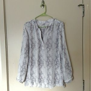 Kenar White Gray Snakeskin Blouse
